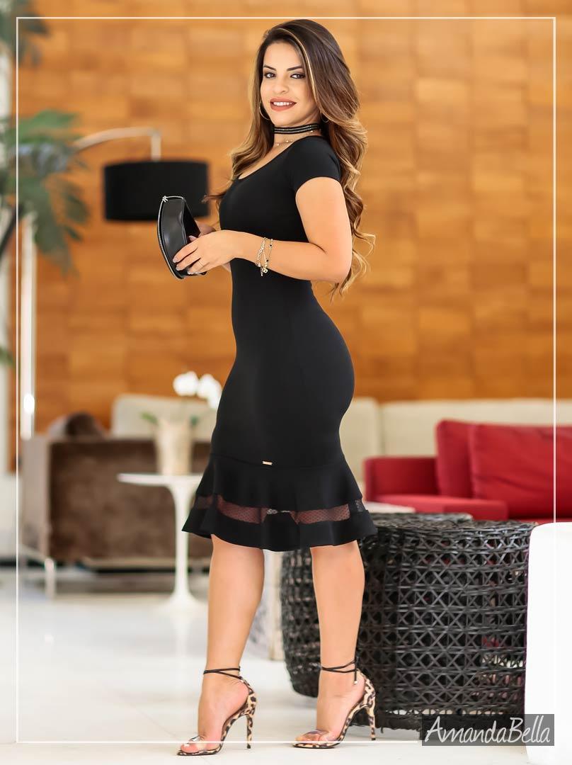 Vestido Executivo Tubinho com Renda - AmandaBella