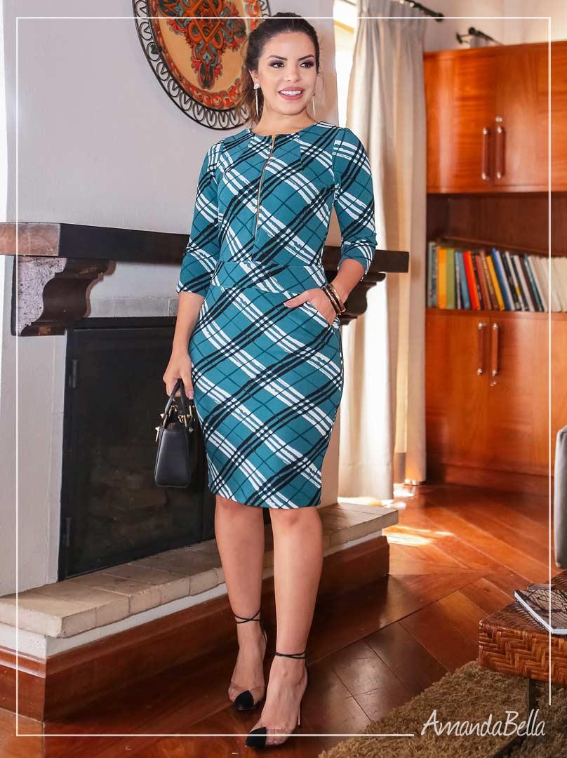 Vestido Executivo  Xadrez com Zíper Frontal - Boutique K