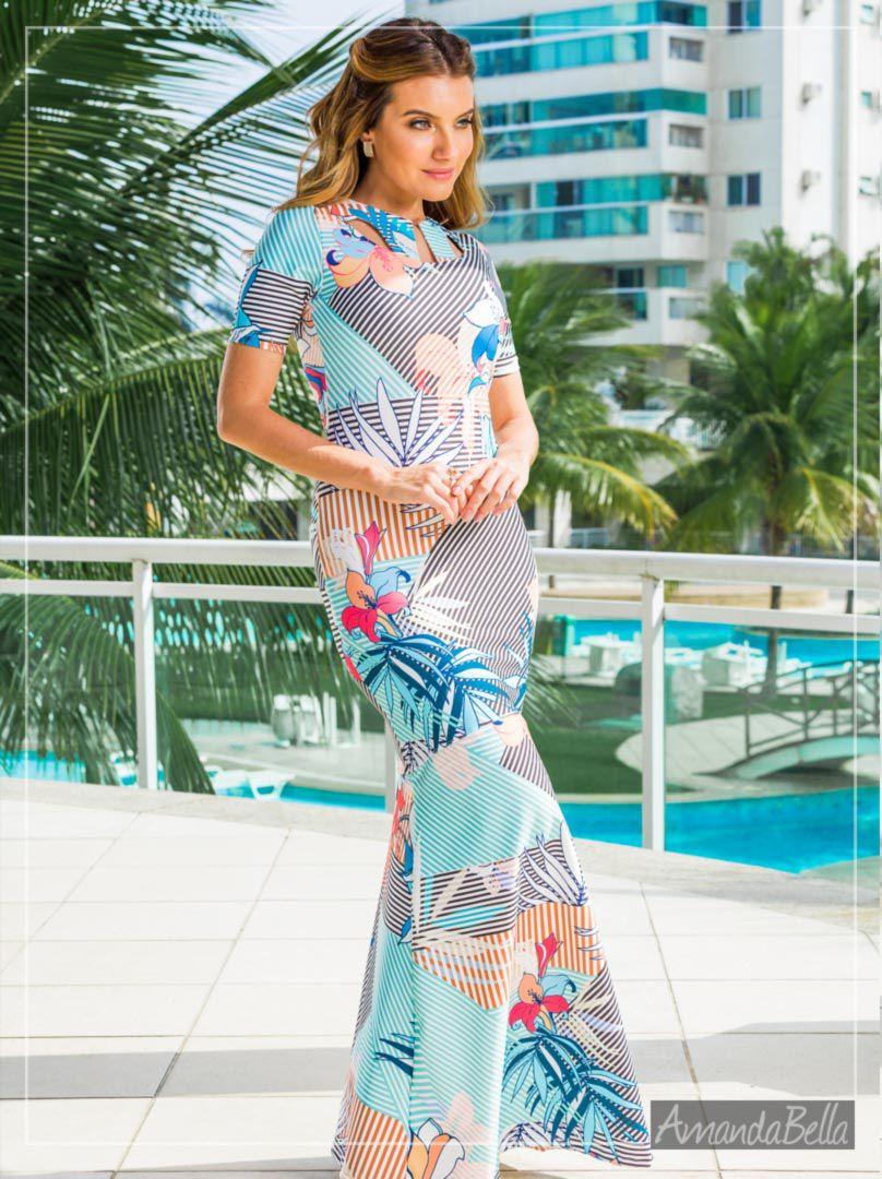 657cc2bcc Vestido Feminino Longo Estampa Tropical Verão 2019 | AmandaBella