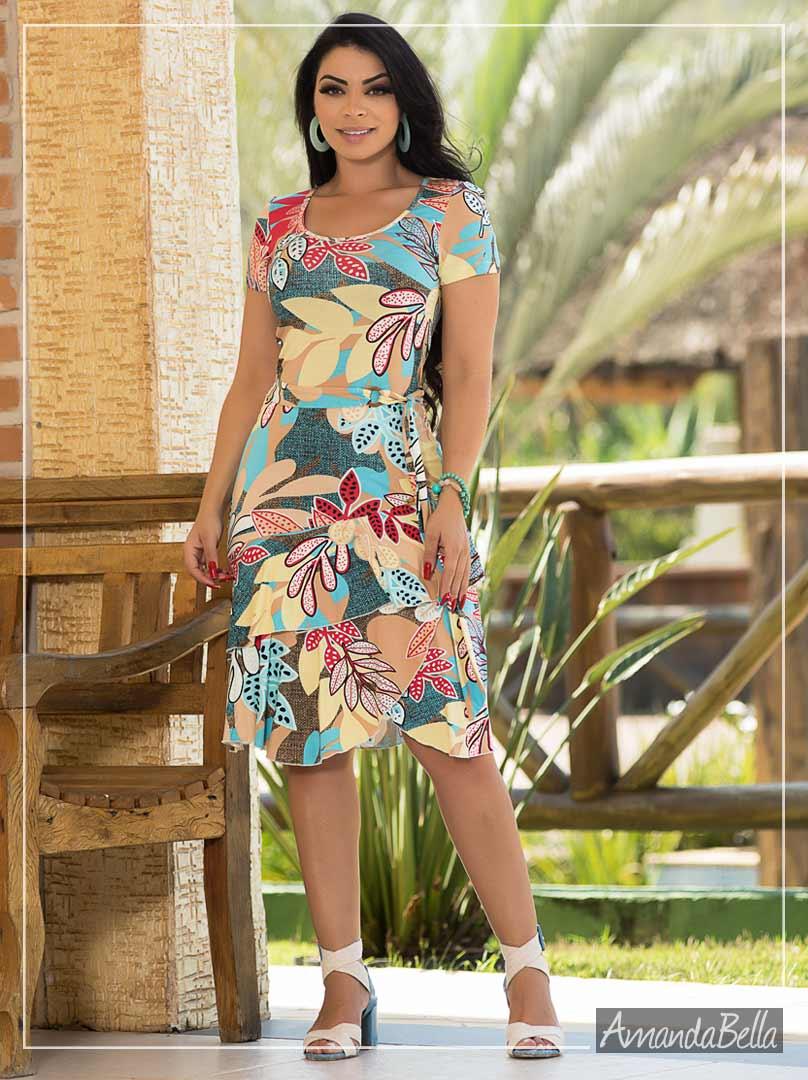 Vestido Florido com Babado- Fm Fashion