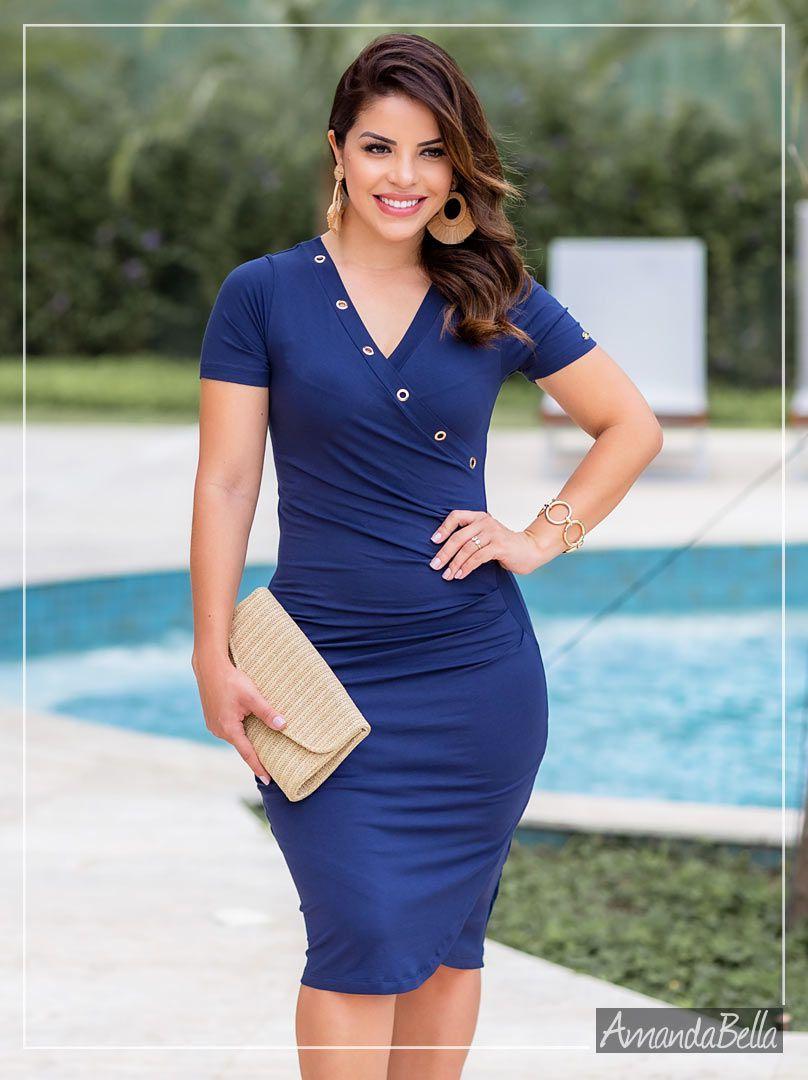 Vestido Fresh Premium Azul Marinho - Boutique K