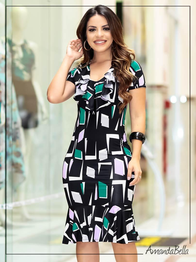 Vestido Geométrico com Babado - Boutique K