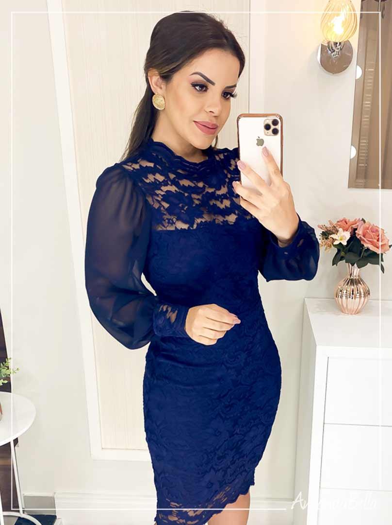 Vestido Glamour em Renda Azul Marinho - Az Irmãs