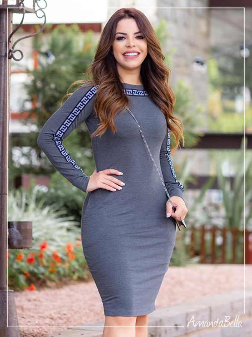 Vestido Inspiração Fendi Cinza l  Boutique K