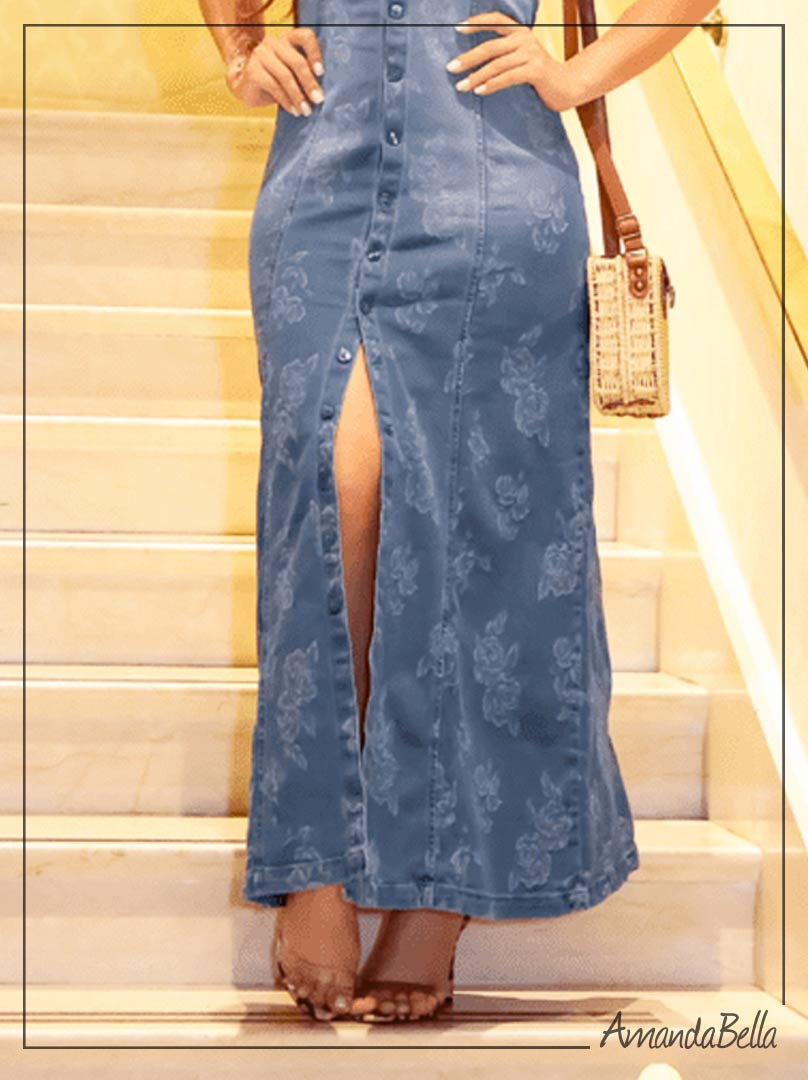 Vestido Jeans Longo Estilo Chemise com Botões - Joyaly