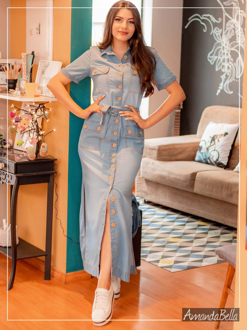 Vestido Jeans Longo Summer 2020 - Saiaria