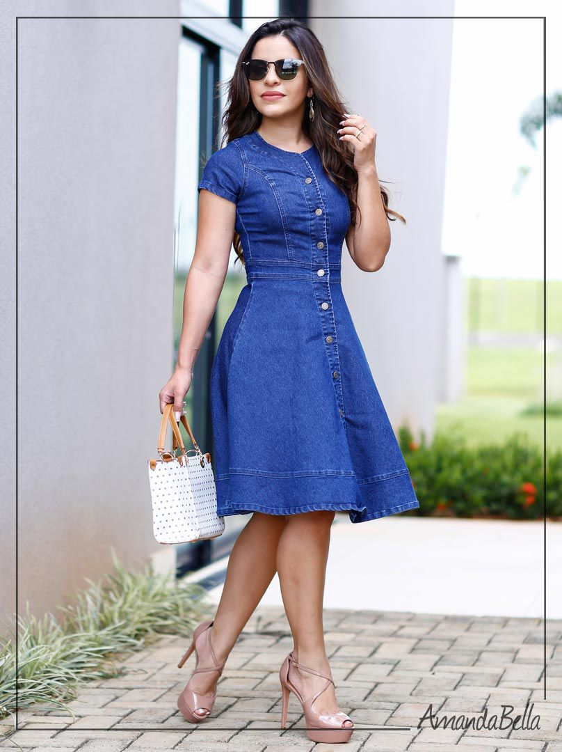 Vestido Jeans Rodado Com Botões Na Frente Moda Evangélica