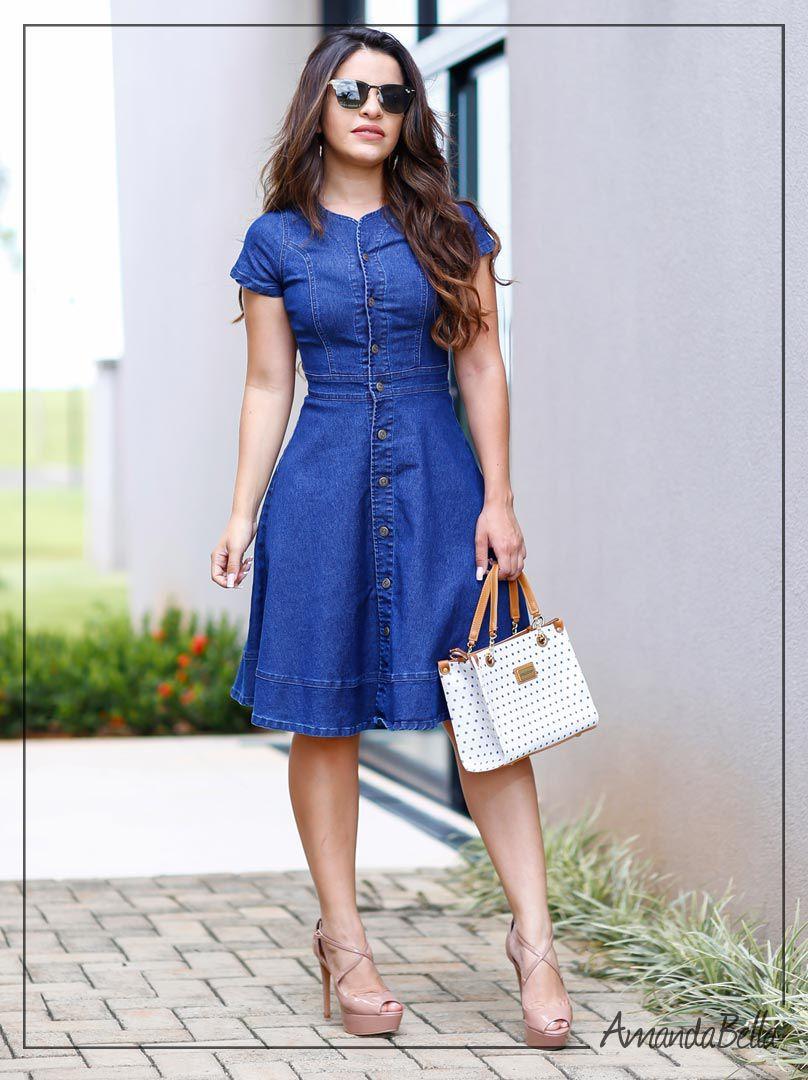 Vestido Jeans Rodado com Botões na Frente - Moda Evangélica