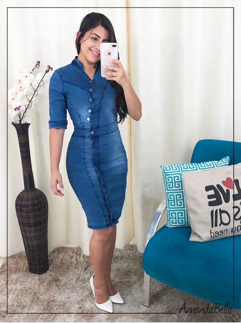 Vestido Jeans Tubinho Transpasse Frontal com Botões - AmandaBella