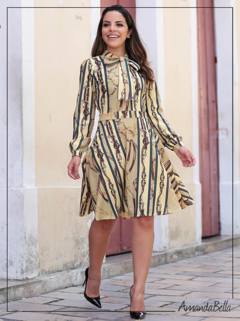 Vestido Lady Like com Laço na Gola - Joyaly