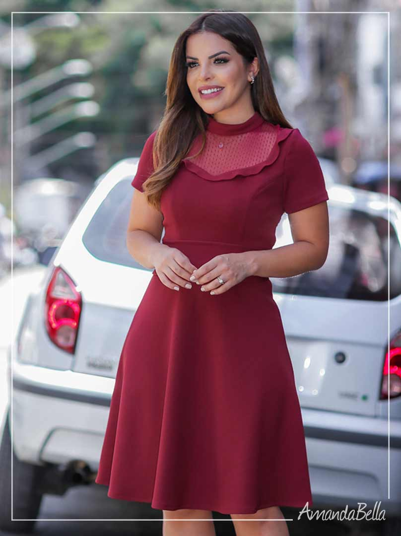 Vestido Lady Like Marsala -Azirmãs