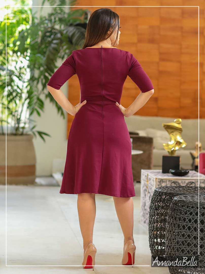 Vestido Lady Like Marsala com Detalhe Frontal - Az Irmas