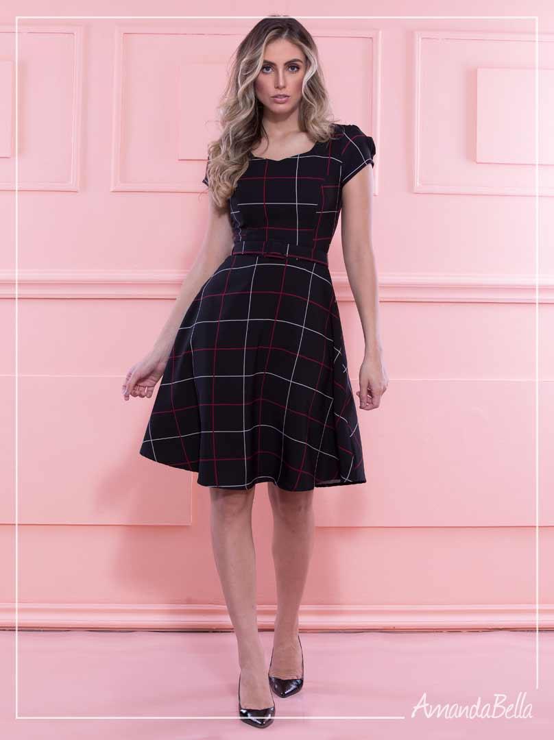 Vestido Lady Like Risca de Giz  - Amanda Bella