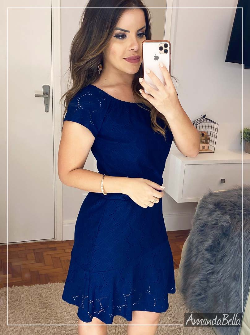 Vestido Lese com Elastano Azul Marinho - Amanda Bella
