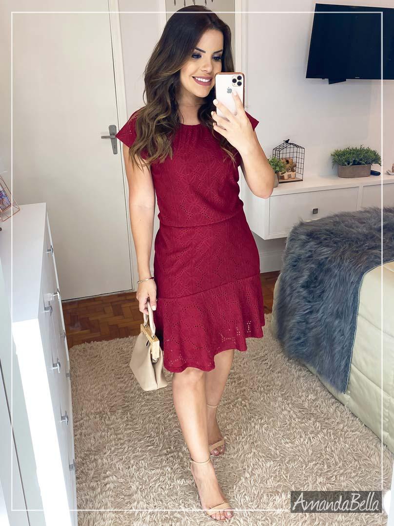 Vestido Lese de Poliamida Marsala - Amanda Bella