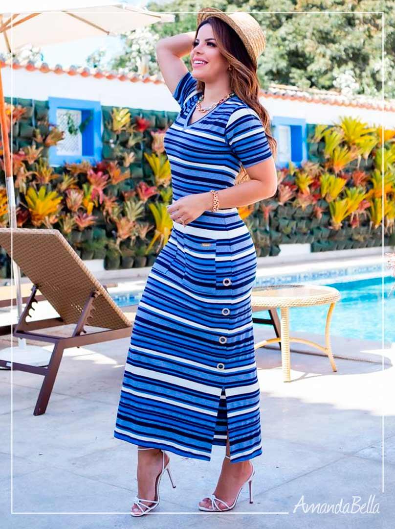 Vestido Lidya Premium  Azul  - Boutique K