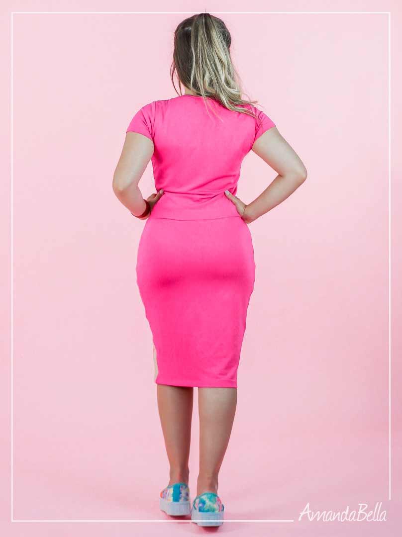 Vestido Linha Confort Rosa  Zíper - Joyaly