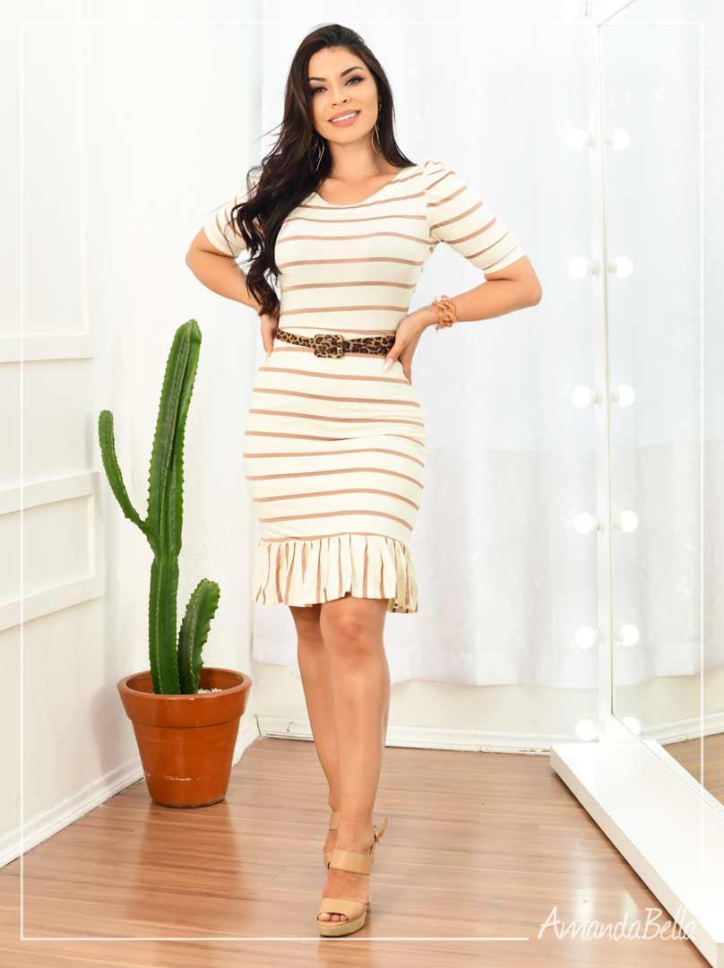 Vestido Listrado com Cinto Off - Amanda Bella