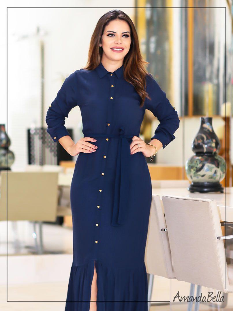 Vestido Longo Chemise Manga Comprida Azul - Az Irmãs