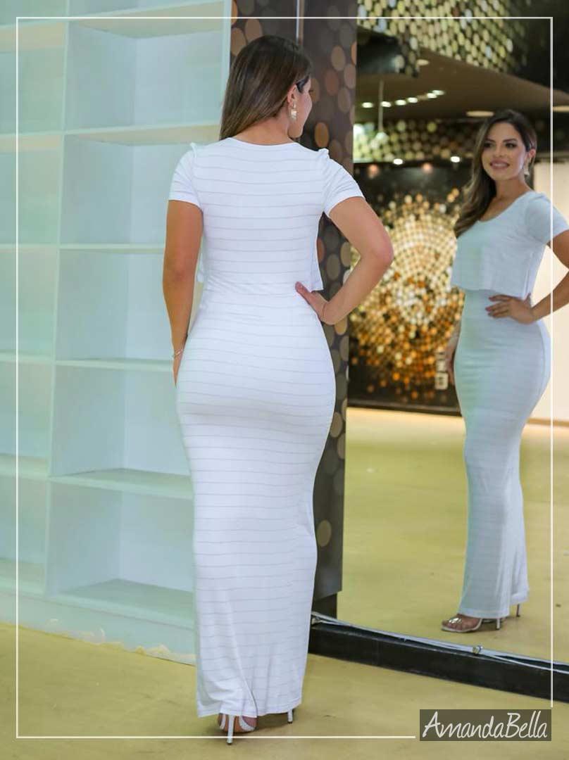 Vestido Longo Com Listras em Lurex  Reveillon 2020 -