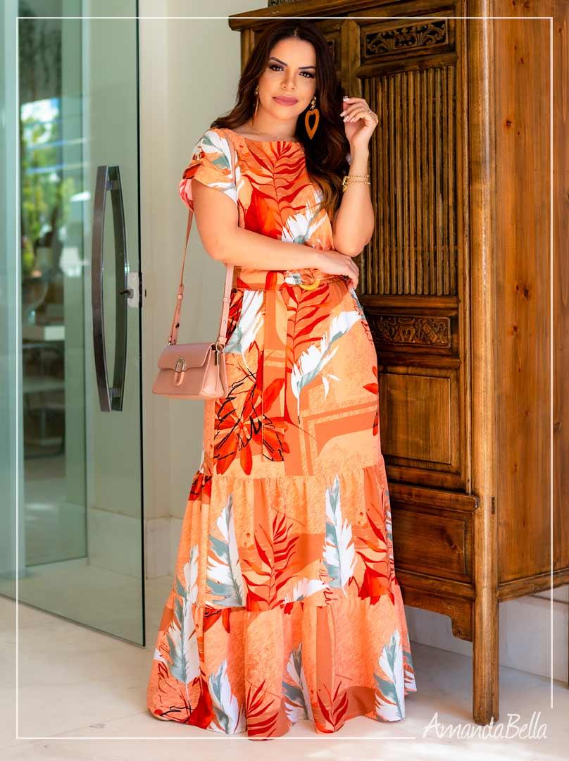 - Vestido Longo  em Viscose Premium Estampado Fundo  Laranja   -Boutique K