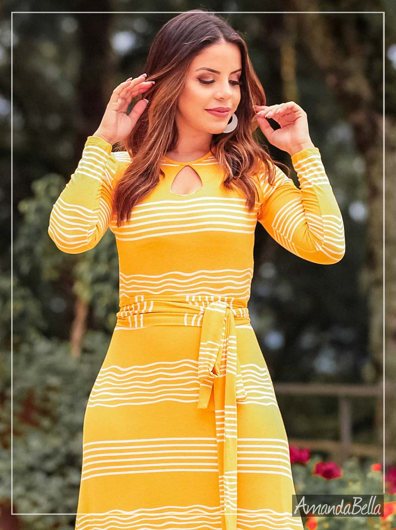 Vestido Longo Feminino Listrado com Faixa de Amarrar - Boutique K