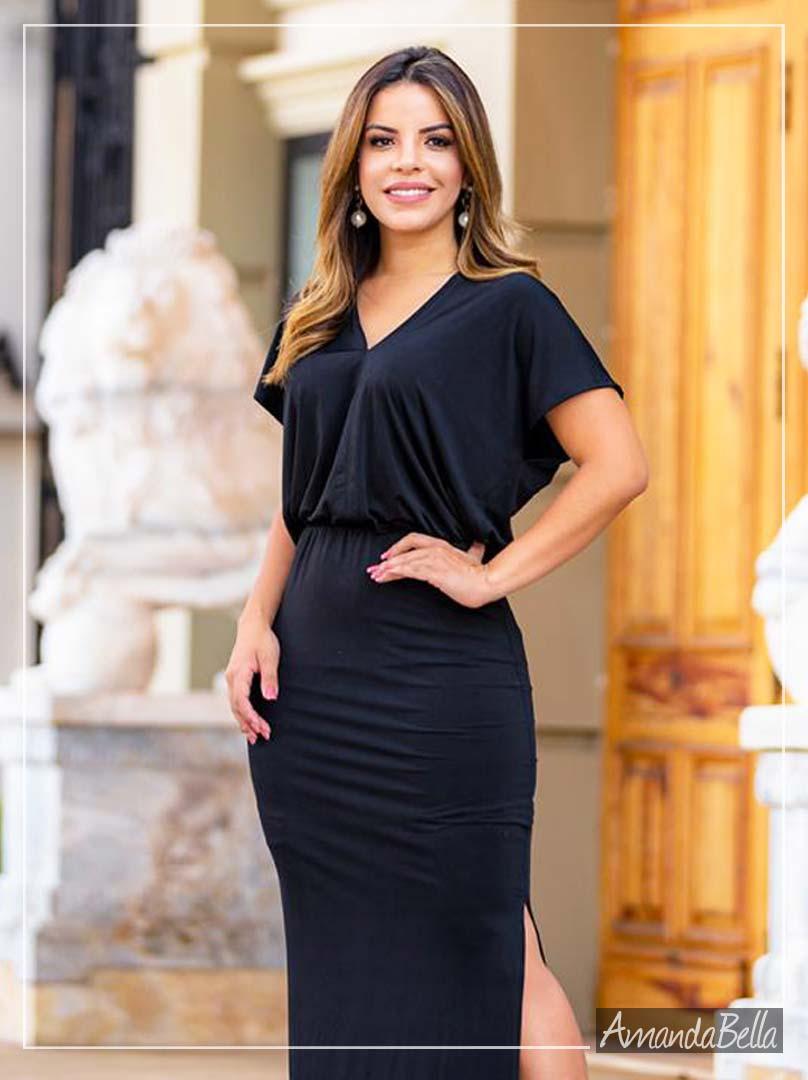 Vestido Longo Impression Black - Amanda Bella