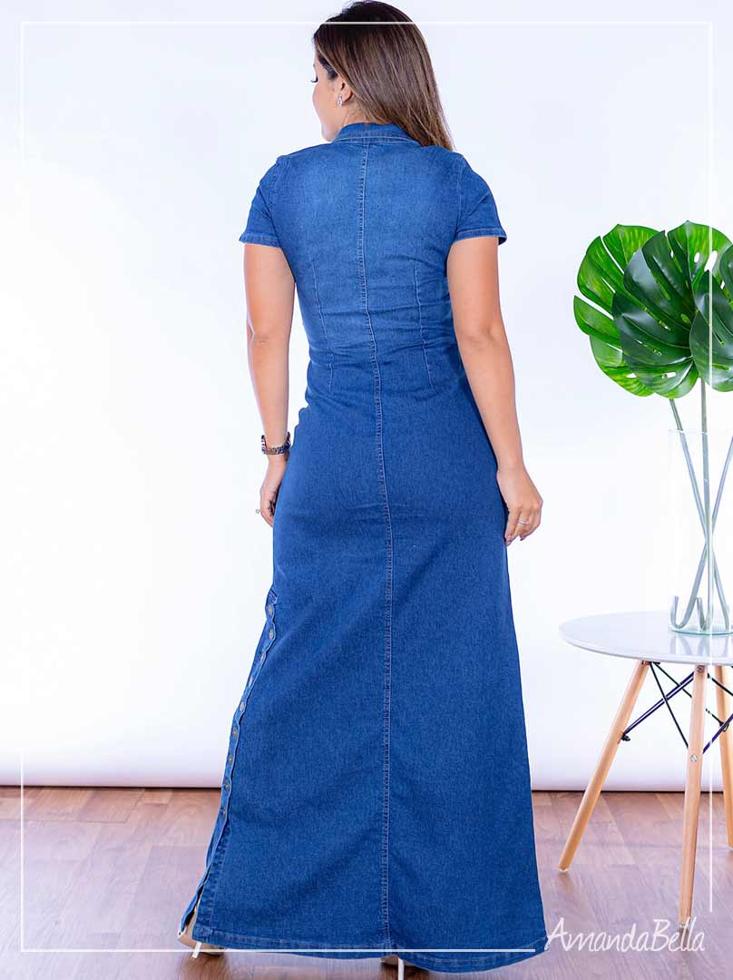 Vestido Longo Jeans Botões Frontais - Joyaly