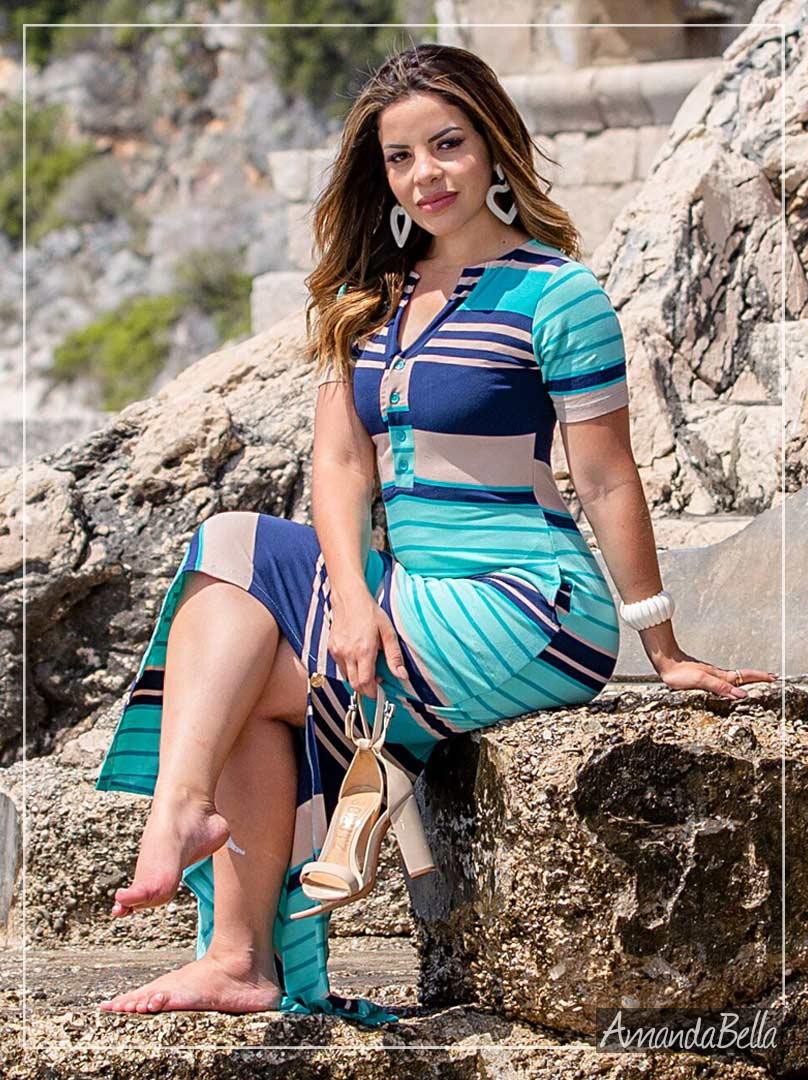 Vestido Longo Listrado Com Fenda Lateral- Boutique K