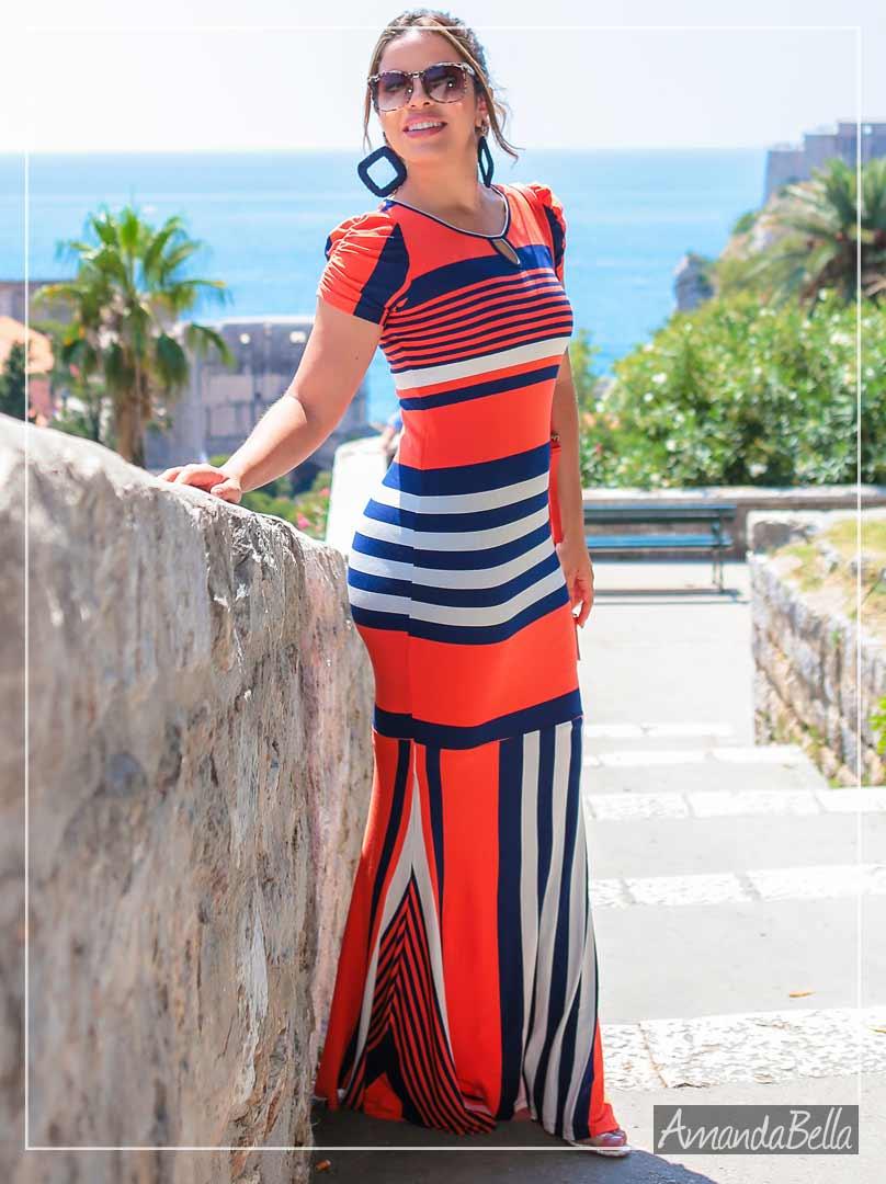 Vestido Longo Listrado Sereia -Boutique  k