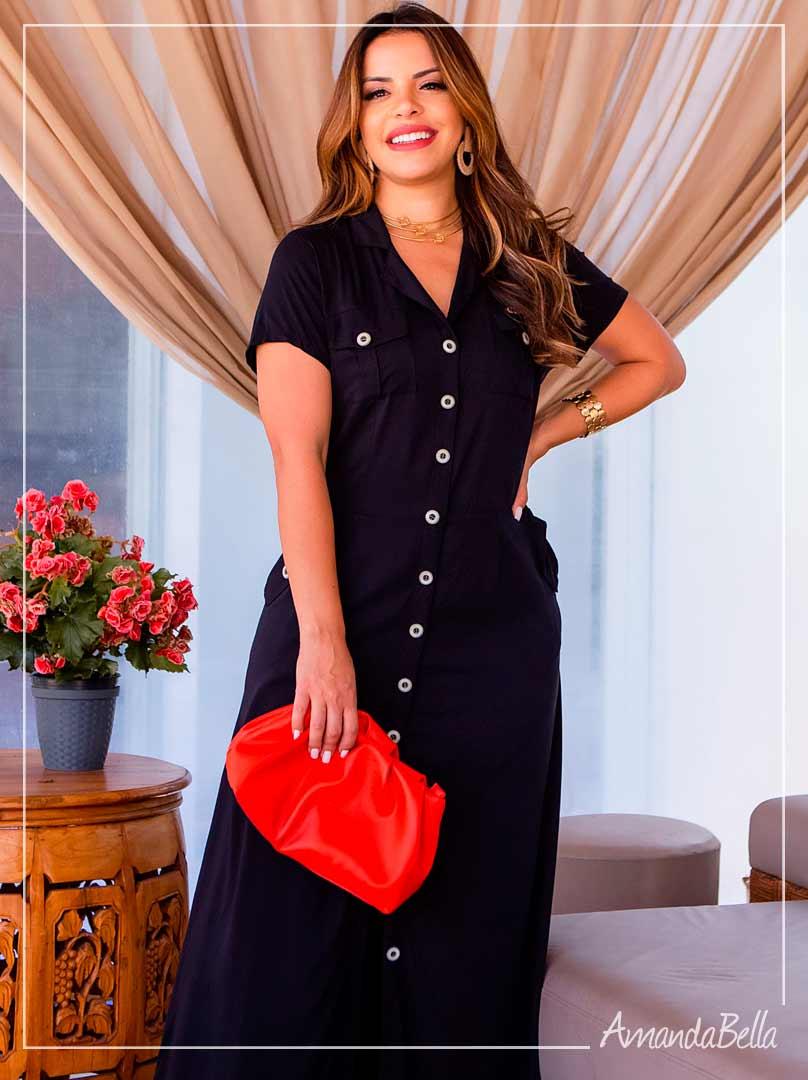 Vestido Longo  Preto com Botões Frontais - Boutique K