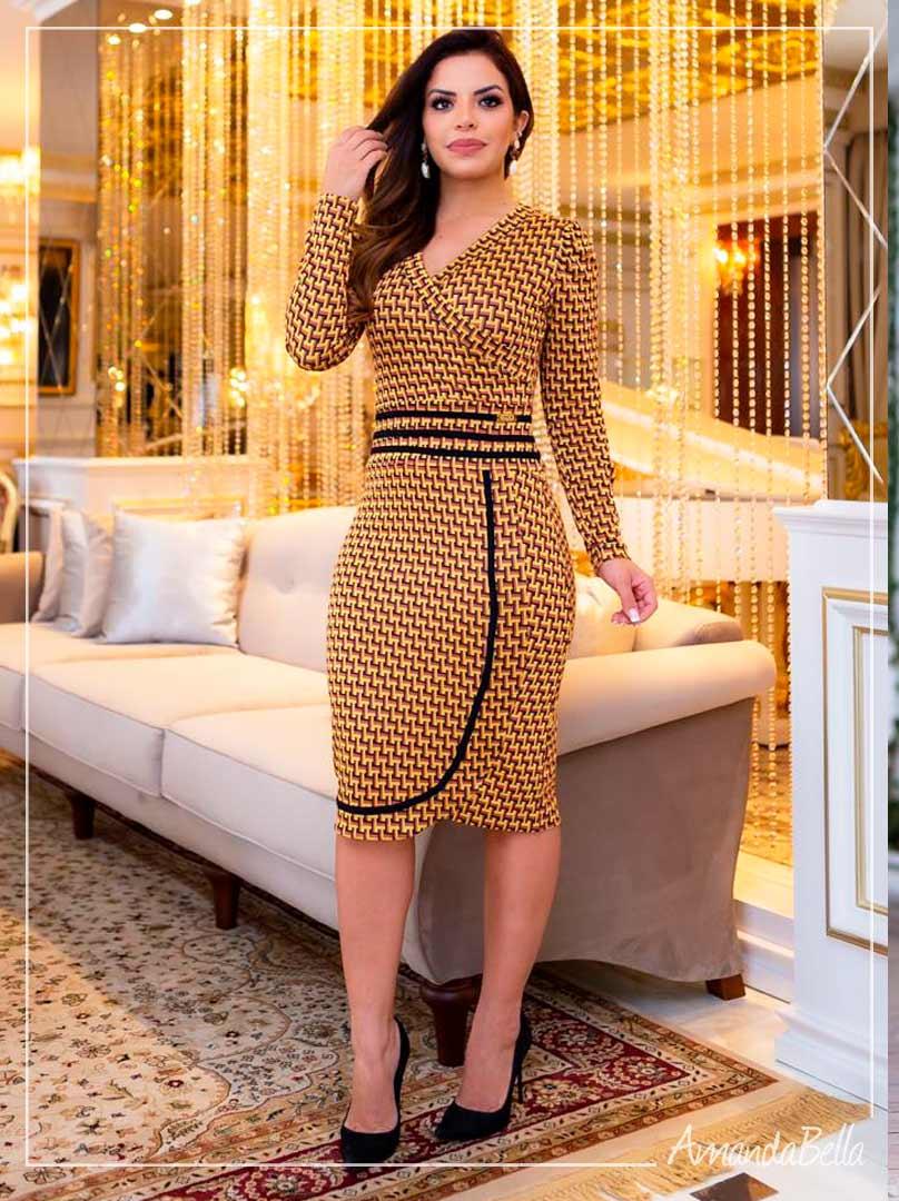 Vestido Luxuous Jacquard Mostarda - Boutique K