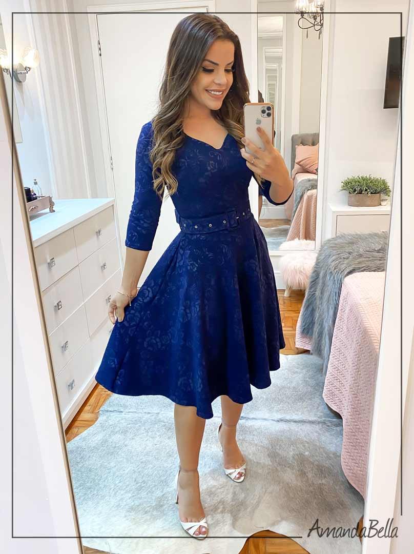Vestido Manga 3/4 Azul Marinho - Amanda Bella