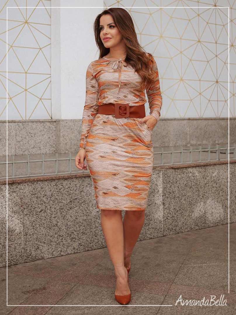 Vestido Manga Longa Estampado Outono inverno - Boutique K