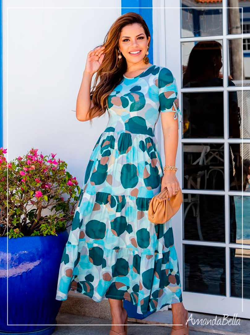 Vestido Maxi Midi Turquesa- Boutique K