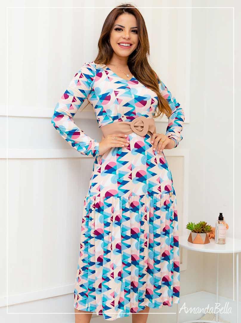 Vestido Midi Estampado - Boutique K