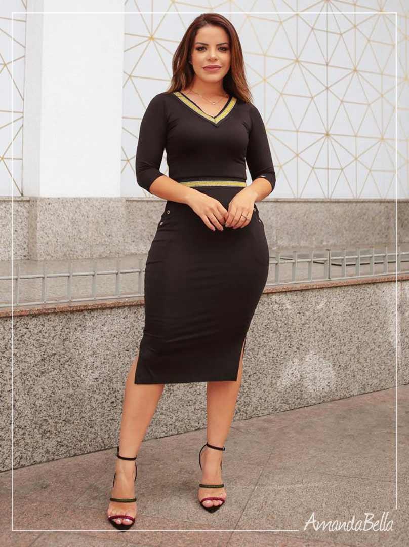 Vestido Midi Executivo com Dourado - Boutique K