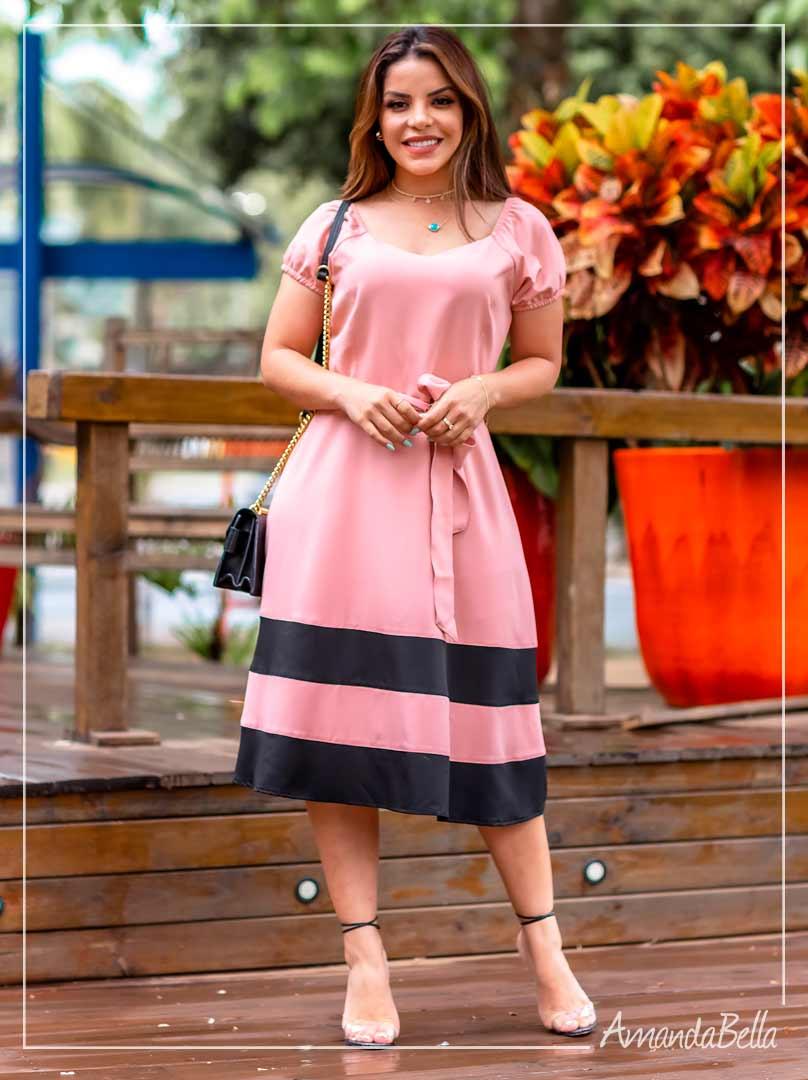 Vestido Midi Godê Bicolor  - Amanda Bella