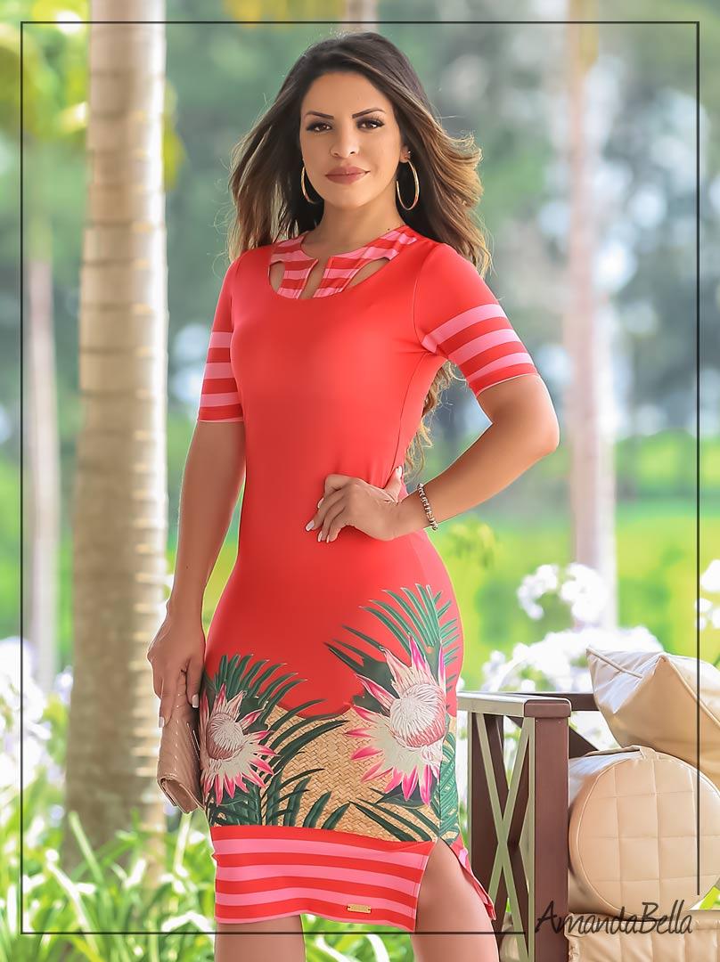 bef57ceb1cd Vestido Neoprene Mix Floral com Recortes - Boutique k