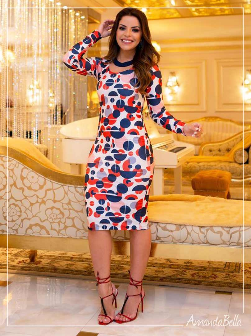 Vestido Neoprene Premium Estampado com Zíper - Boutique K