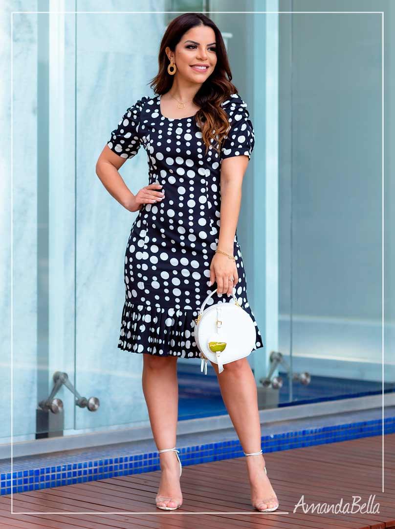 Vestido New Poá P&B  -Boutique K