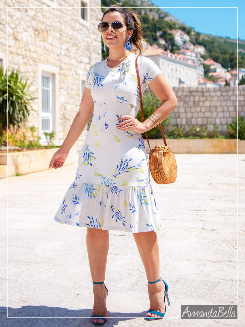 Vestido Off Estampado com Babado- Boutique K