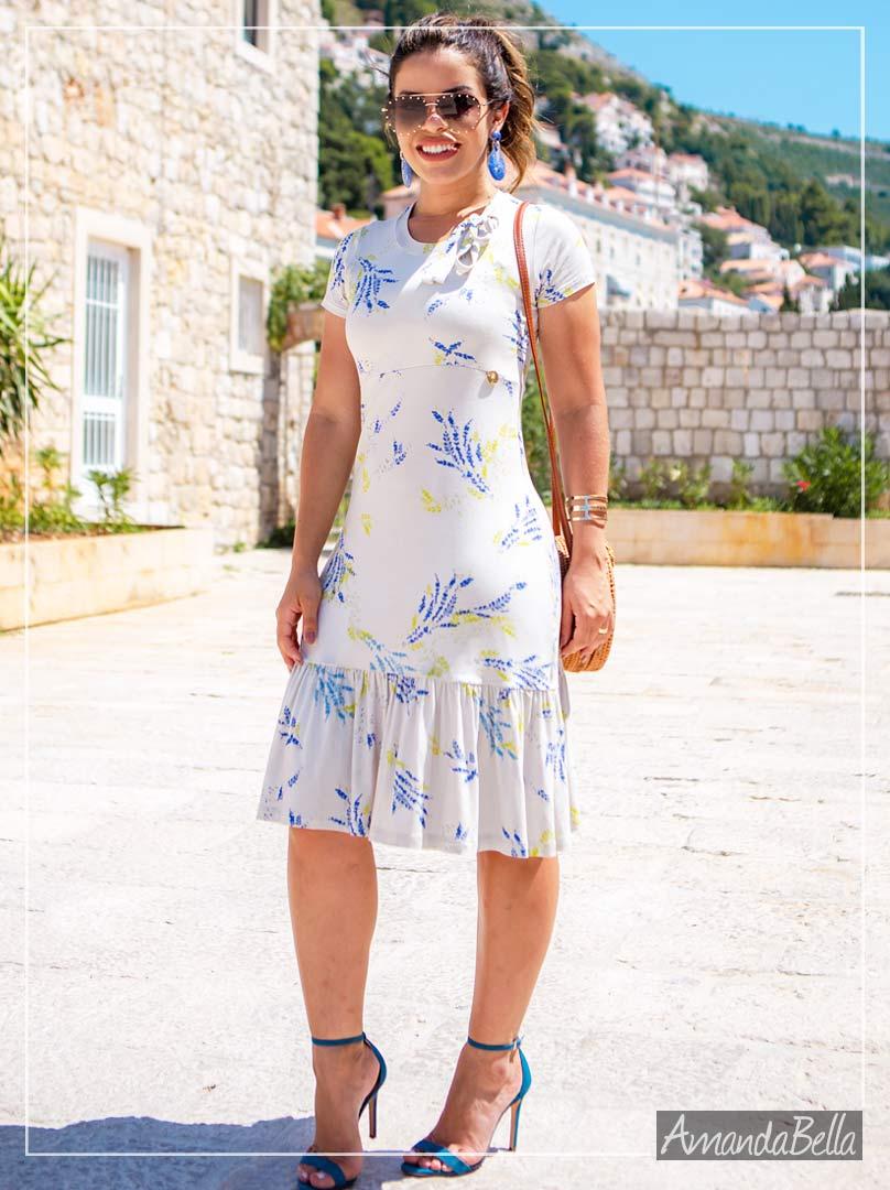 Vestido Off Estampado com Babado- Boutique K
