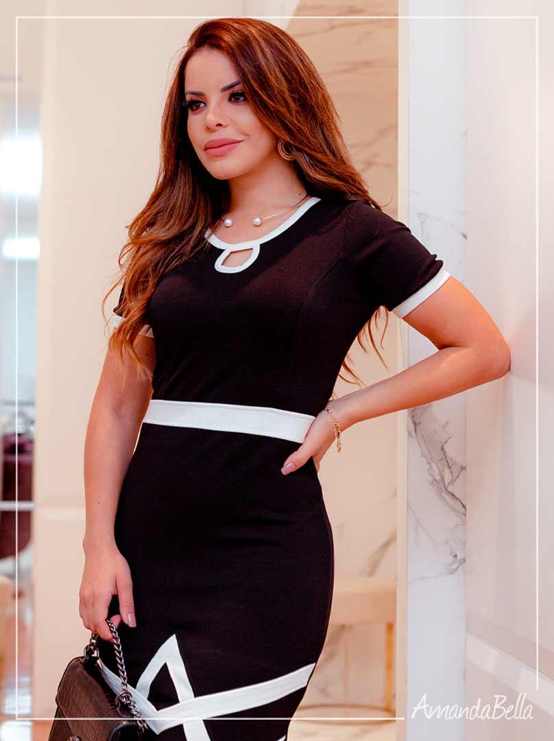 Vestido P&B  Elegancê - Moda Executiva