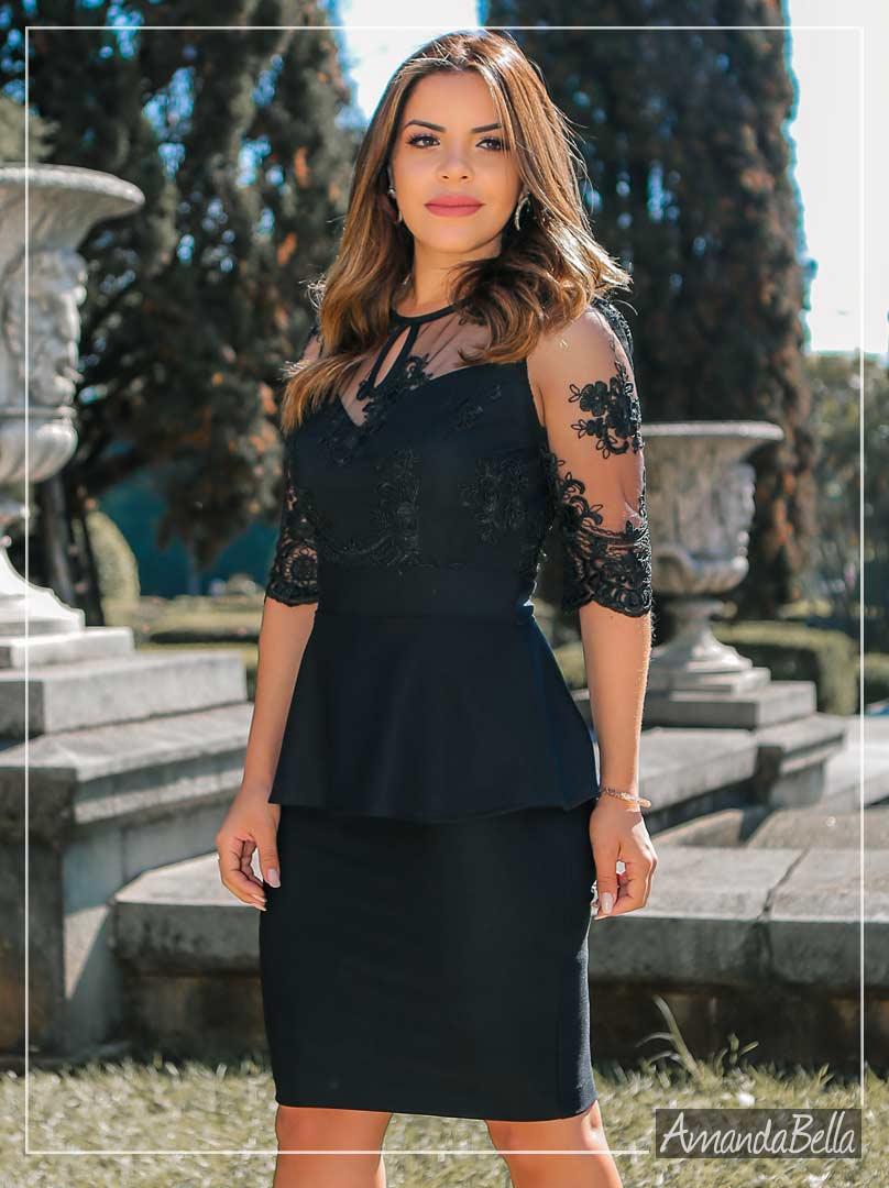 Vestido Peplum e Renda Elegance - Az Irmãs
