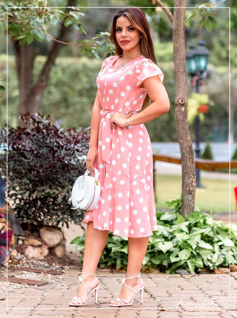 Vestido Poá delicatê - Amanda Bella