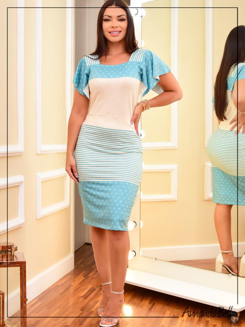 Vestido  Poá e Listras  Azul Jade
