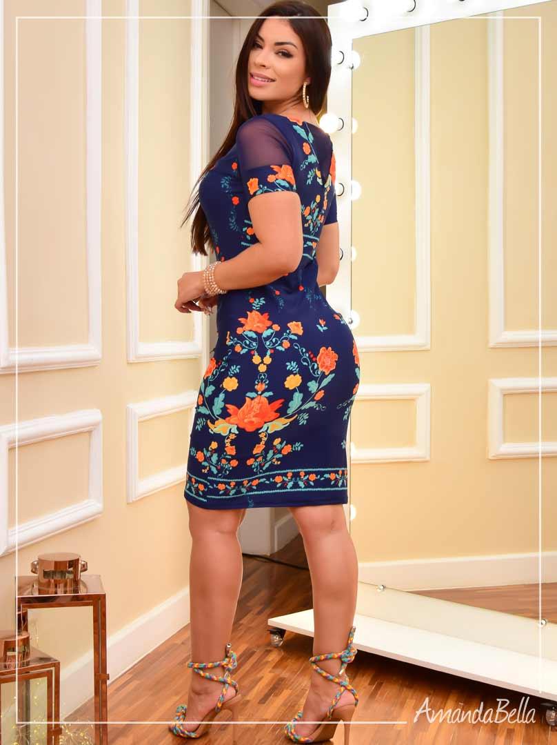 Vestido Poliamida e Tule Estampado Floral