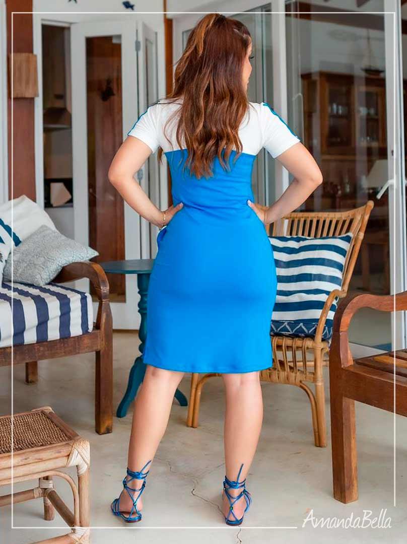 Vestido Polinho Bicolor Azul  - Boutique K