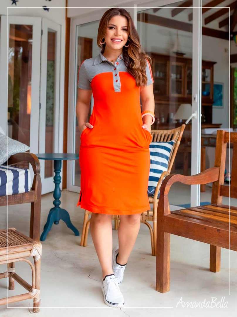 Vestido Polinho Bicolor Laranja  - Boutique K